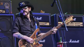 Lemmy Kilmister of Motorhead performs live on the Pyramid stage during the first day of the Glastonbury Festival at Worthy Farm, Pilton on June 26, 2015 in Glastonbury, England