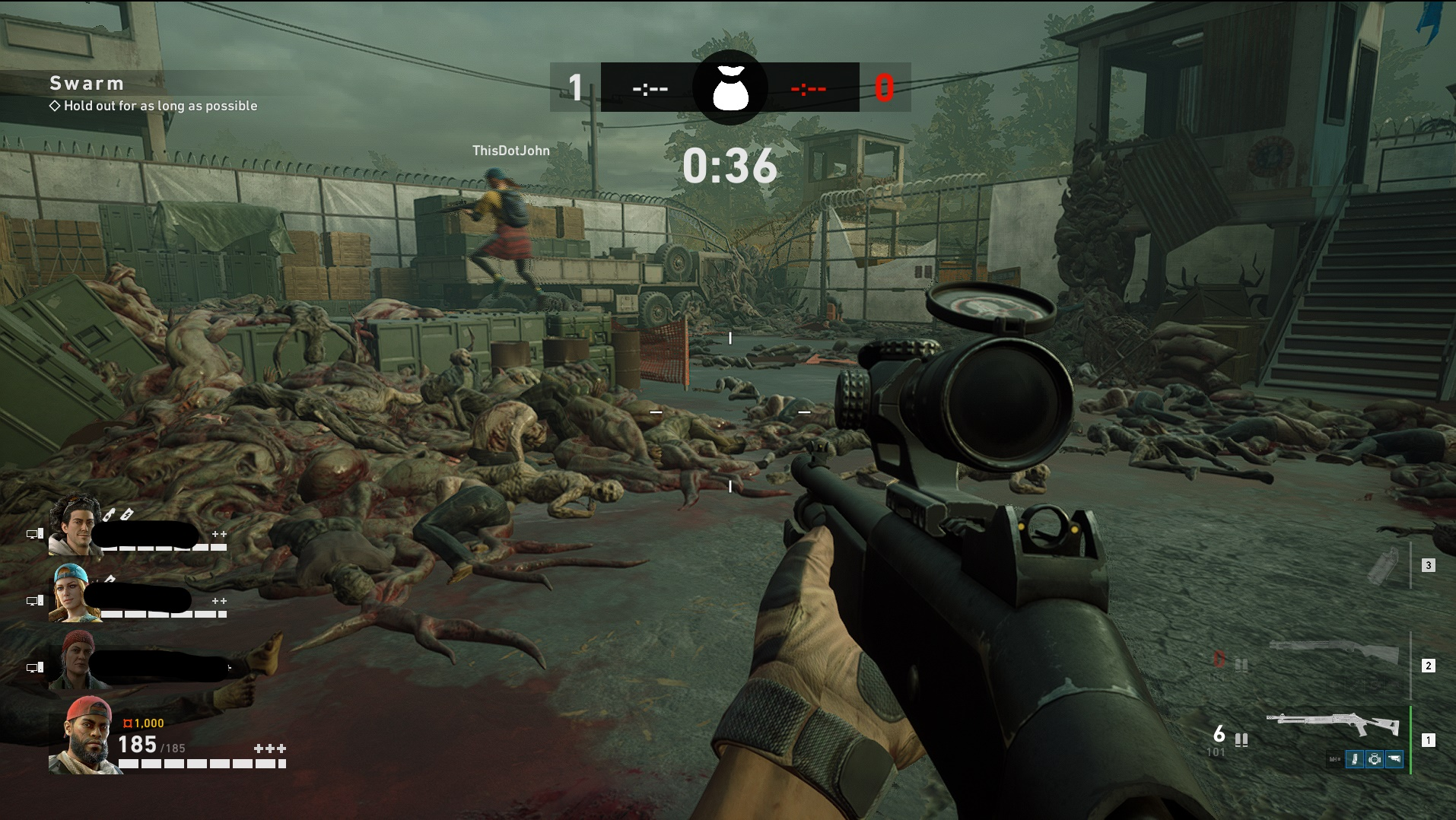First-person view of holding a sniper rifle. The floor is covered in dead bodies and a countdown reads '36 seconds'