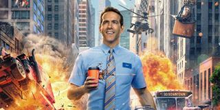 Guy (Ryan Reynolds) walks oblivious to the destruction behind him in a promotional image for 'Free Guy'