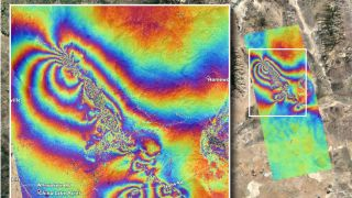 NASA experts used satellite data to map the ground displacement caused by the two major earthquakes that struck Southern California on July 4 and 5, 2019.
