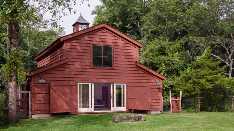 Exterior of Isabella Rossellini's Long Island rustic barn
