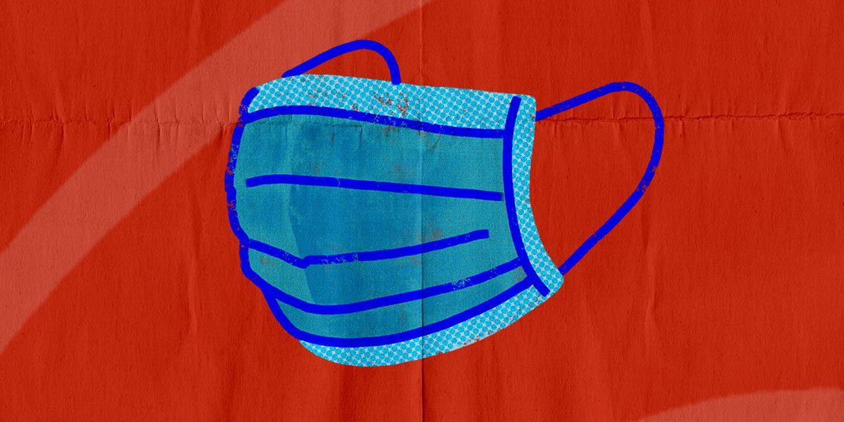 A handdrawn blue cloth mask with a red background.