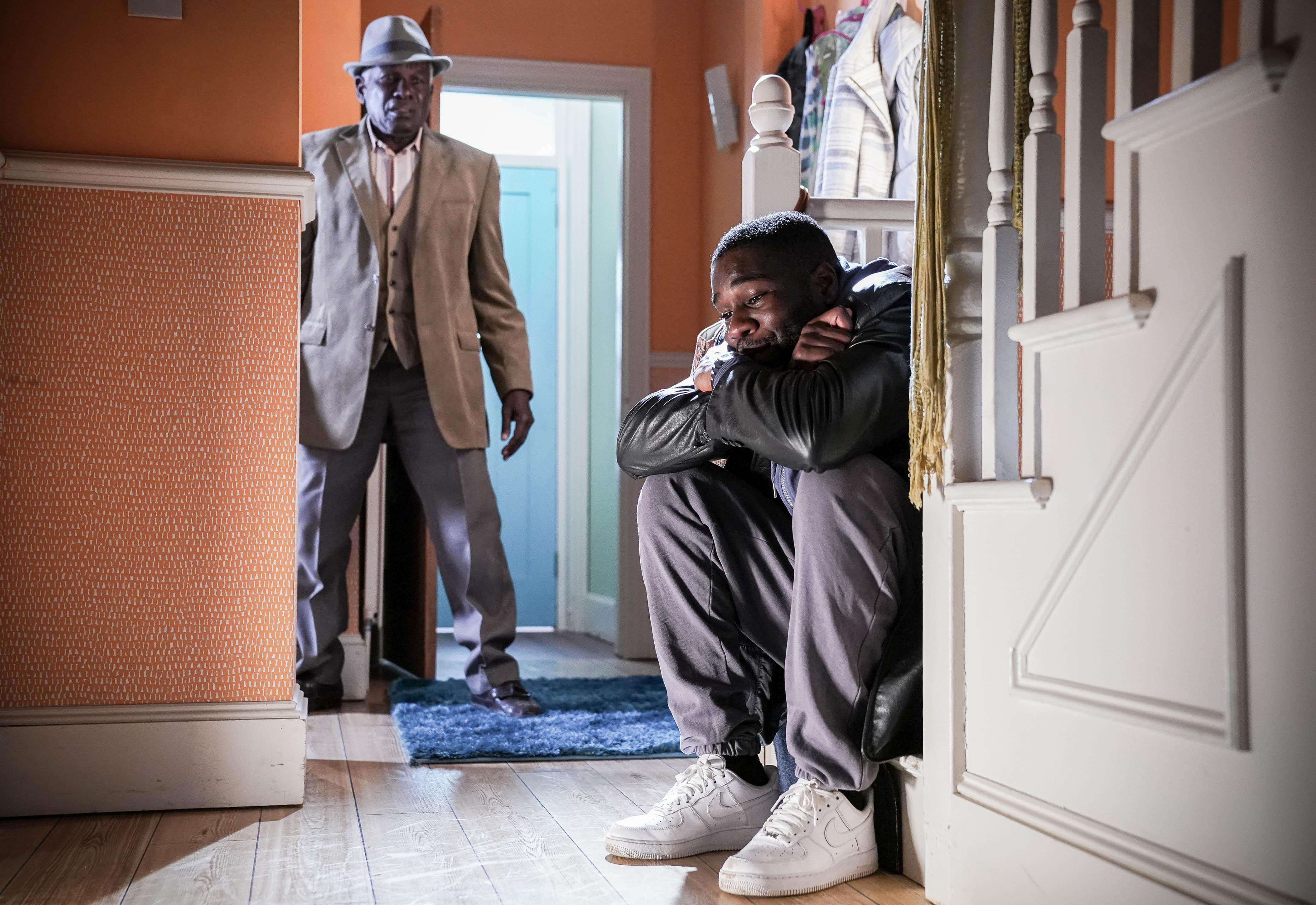 Patrick Trueman reassures Isaac Baptiste in EastEnders