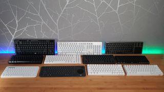 11 wireless keyboards on desk