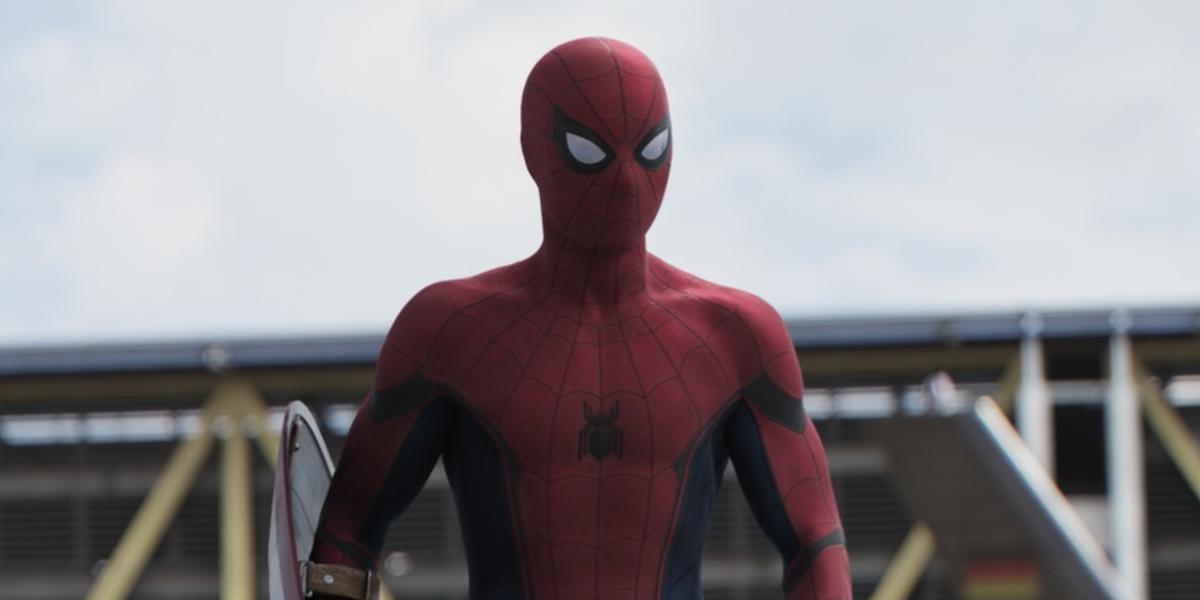 Spider-Man sticking the landing in Captain America: Civil War