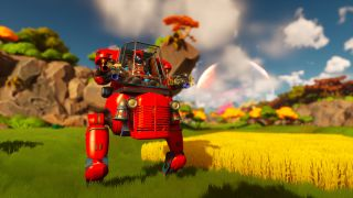 An image of sci-fi farming game Lightyear Frontier. There is a mech that looks like a tractor and a field of wheat.