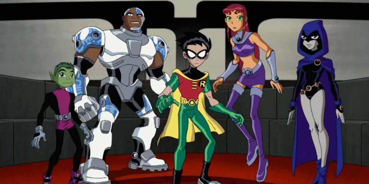 Beast Boy, Cyborg, Robin, Starfire, and Raven on Teen Titans