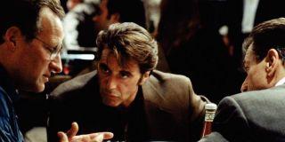 Michael Mann, Al Pacino and Robert De Niro on the set of Heat (1995)
