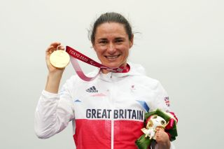 OYAMA JAPAN AUGUST 31 Gold medalist Sarah Storey of Team Great Britain poses on the podium at the medal ceremony for the Cycling Road Womens C5 Time Trial on day 7 of the Tokyo 2020 Paralympic Games at Fuji International Speedway on August 31 2021 in Oyama Japan Photo by Toru HanaiGetty Images
