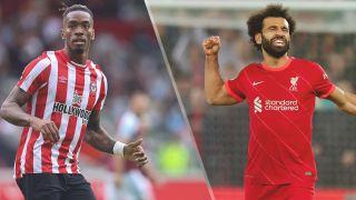 Ivan Toney of Brentford and Mohamed Salah of Liverpool