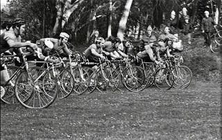 The start line, '70s style, in Golden Gate Park. Five-time national champ Laurence Malone is on the far left.