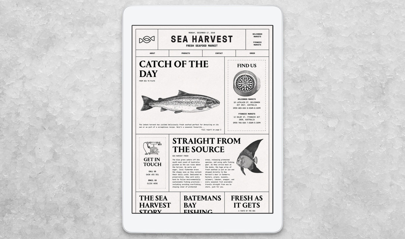 Sea Harvest website on iPad