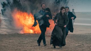 Rafe Spall, Eleanor Tomlinson and Rupert Graves in The War Of The Worlds.