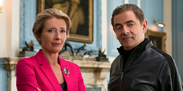 Rowan Atkinson's Johnny English and Emma Thompson's Prime Minister in Johnny English Strikes Again