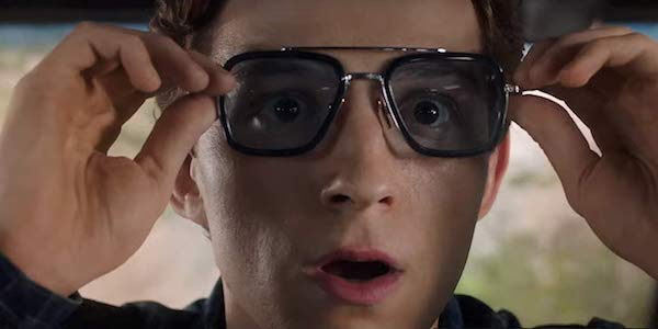 Tom Holland as Peter Parker, Tony Stark glasses, Spider-Man: Far From Home