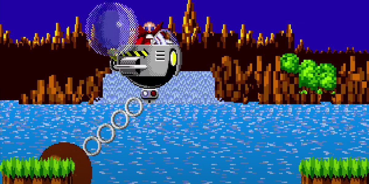 Sonic hitting Dr. Robotnik in Sonic the Hedgehog