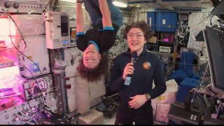 "NASA astronauts Jessica Meir and Christina Koch demonstrate how their hair stands up in the microgravity environment on board the space station, whether they're ""upside down"" or not."