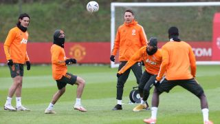 Manchester United trains before its Jan. 9 FA Cup match against Watford.