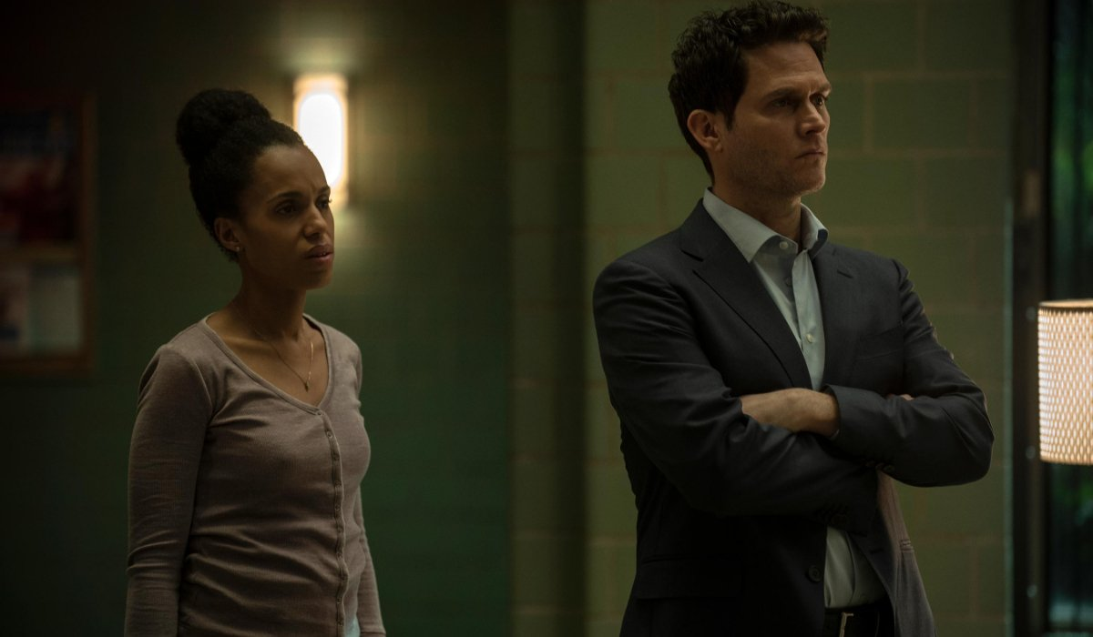 American Son Kerry Washington and Steven Pasquale wait for news in the police station