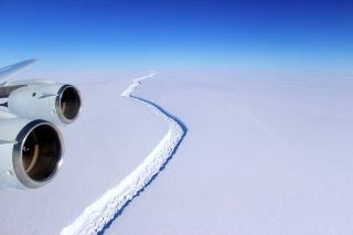 An aerial snapshot shows the rift in the Larsen C Ice Shelf on Antarctica on Nov. 10, 2016. The crack has since grown and as of May 1, 2017, has a second crack.