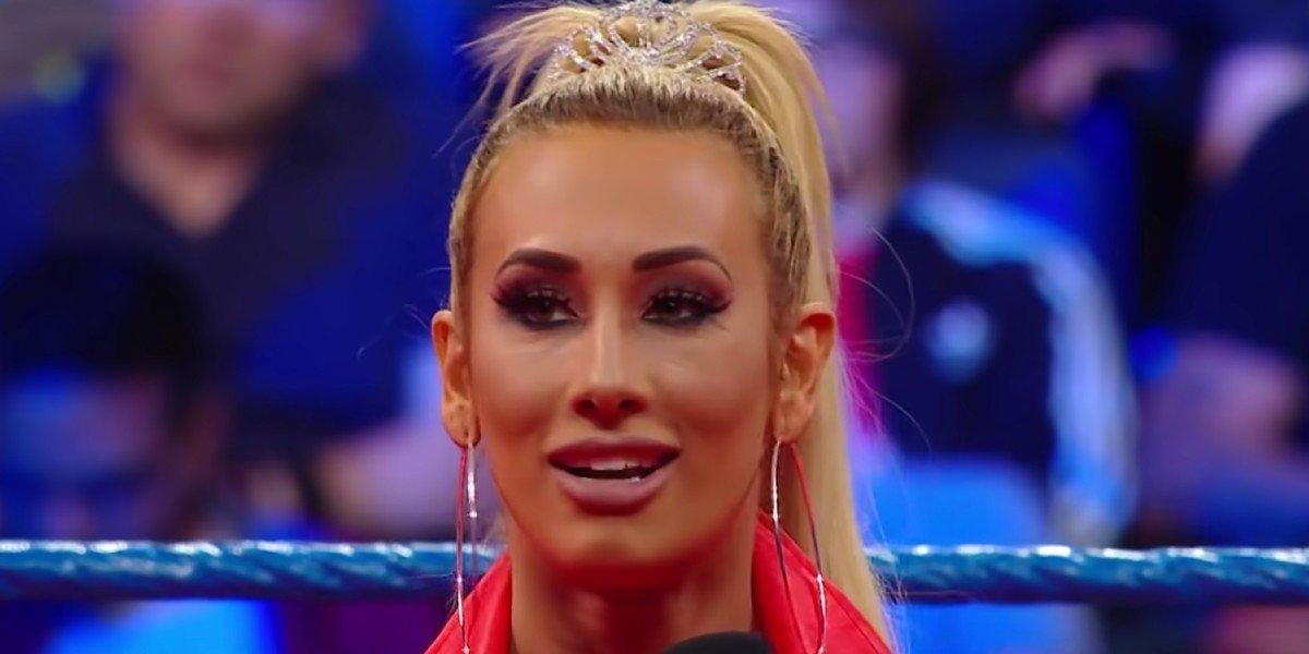 Carmella addressing the WWE Universe