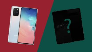 The Samsung Galaxy S10 Lite (L) and a mystery device (R)