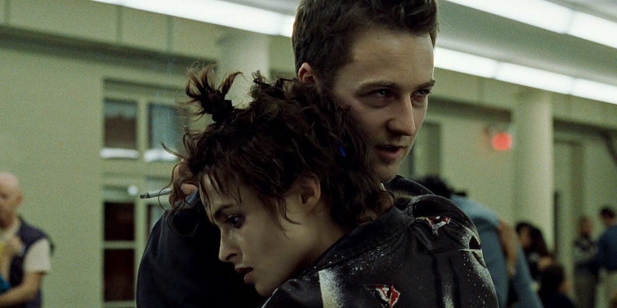Marla Singer and The Narrator embrace in Fight Club