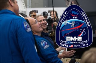 Astronauts Debut Mission Patch for SpaceX Dragon Crewed Flight Test