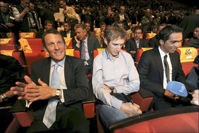 Alberto Contador, Andy Schleck and Lance Armstrong, Tour de France 2010 presentation