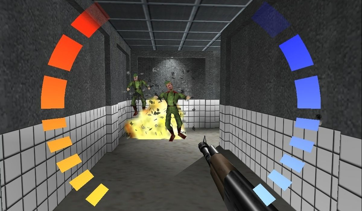 Goldeneye 64 an explosion takes out two guards
