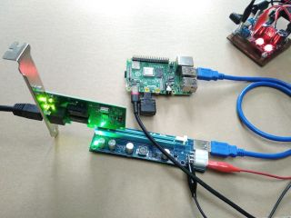 A Raspberry Pi 4 connected to a PCI-Express breakout card