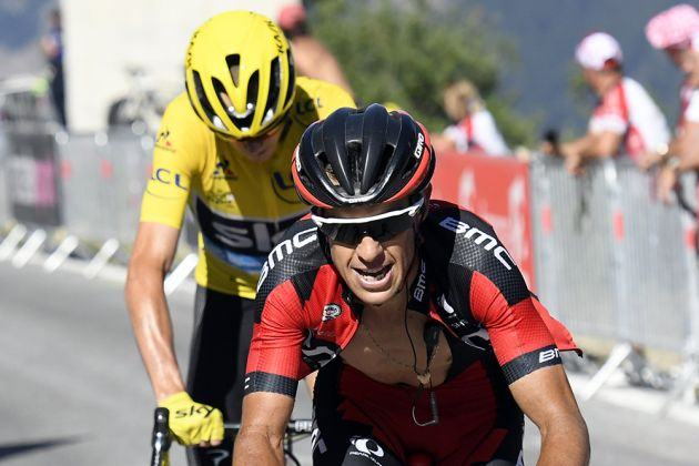 Chris Froome follows Richie Porte of BMC on the brutally steep climb to the Emosson dam on stage 17 of the Tour de France