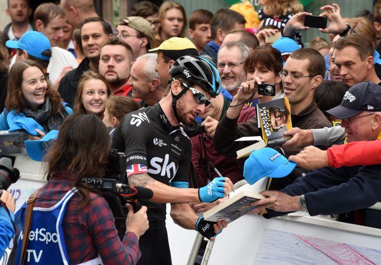 Bradley Wiggins at start, Tour of Britain 2014, stage seven