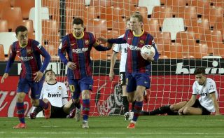 Barcelona's Lionel Messi celebrates scoring his side's first goal