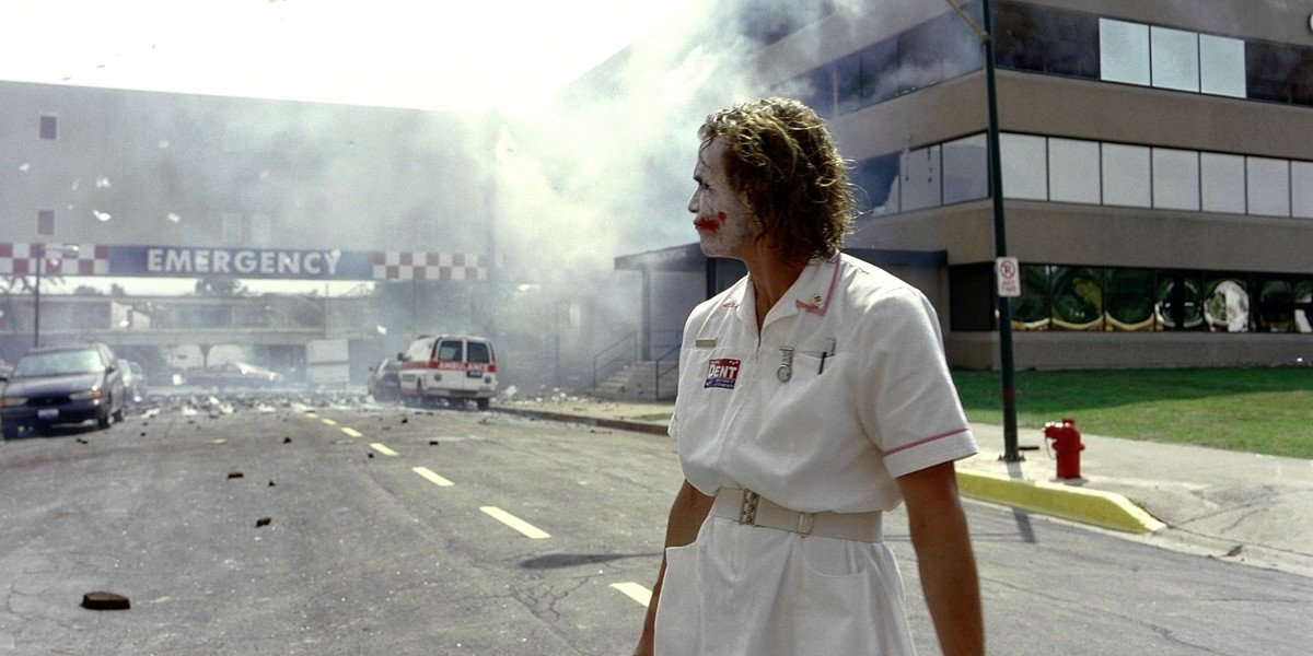 Heath Ledger in a nurse's outfit in The Dark Knight