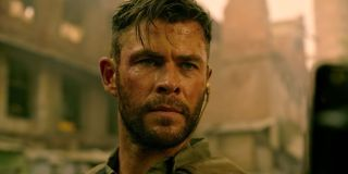 Chris Hemsworth sweaty from fighting in Netflix's Extraction