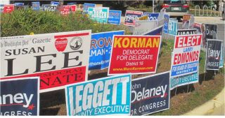 A campaign sign graveyard