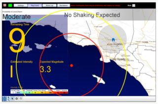 A prototype user interface for a California earthquake early warning system.