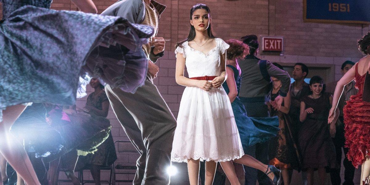 Rachel Zegler stepping onto the dance floor in West Side Story.