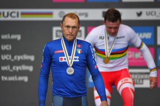 A disappointed Matteo Trentin of Italy walks away from the podium with his road-race silver medal at the 2019 UCI Road World Championships in Yorkshire