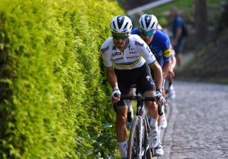 Julian Alaphilippe of Deceuninck-QuickStep leads the breakaway during the 2021 Primus Classic