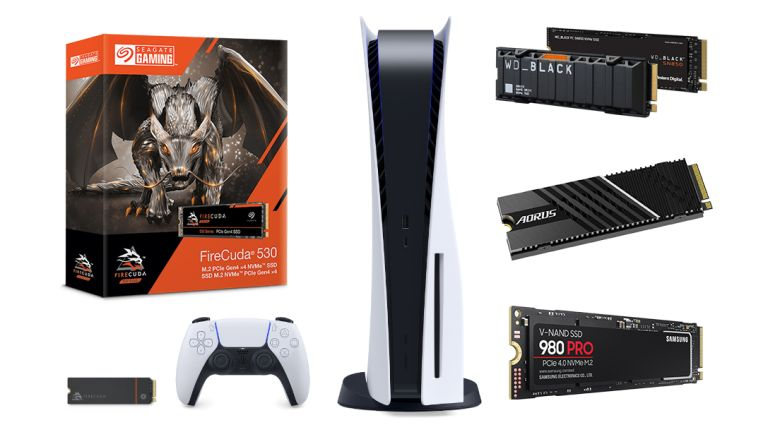 The best PS5 SSDs shown in a group shot around the PlayStation 5 console