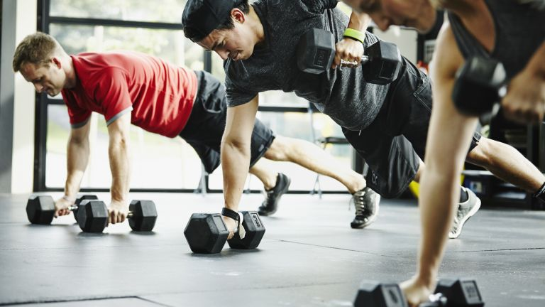 Group doing one of the best bicep workout moves