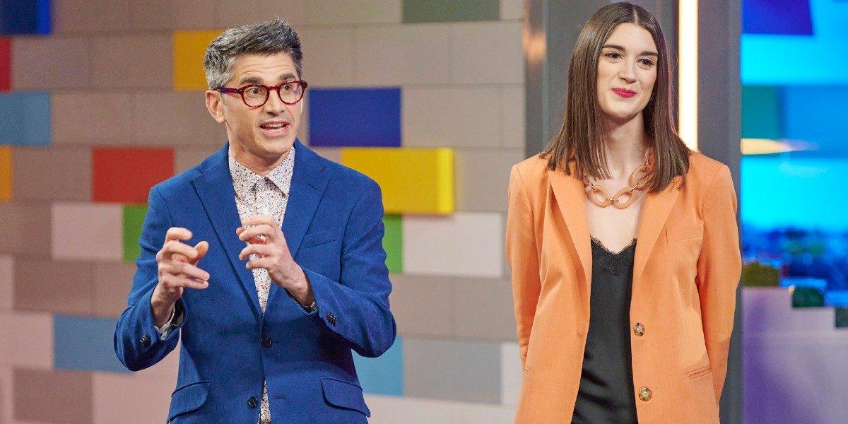 Jamie Berard and Amy Corbett talking to contestants Lego Masters