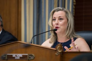 Kendra Horn (D-Okla.), chair of the House Subcommittee on Space and Aeronautics, speaks during a hearing at the Rayburn House Office Building in Washington, on July 10, 2019.