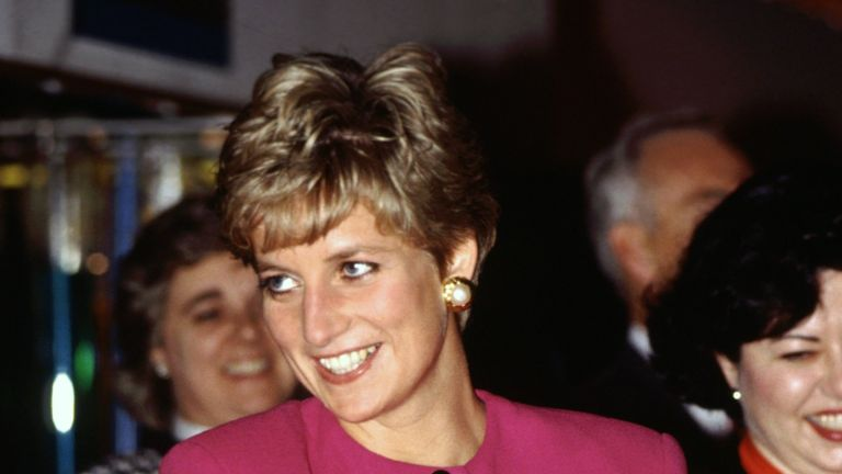CANADA - OCTOBER 24: Diana, Princess of Wales, smiling during her visit to Sudbury, part of her official tour of Canada, The Princess is wearing a pink suit designed by fashion designer Paul Costelloe (Photo by Tim Graham Photo Library via Getty Images)