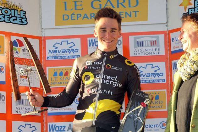 Bryan Coquard on the podium after winning Stage 2 of the 2016 Etoile de Besseges