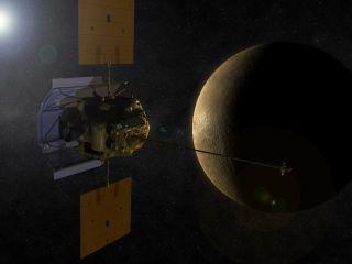 An artist's conception shows the MESSENGER spacecraft in orbit around Mercury.