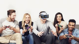 Gamers playing with a PSVR headset