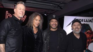 A picture of Metallica in London to promote new album Hardwired... To Self-Destruct